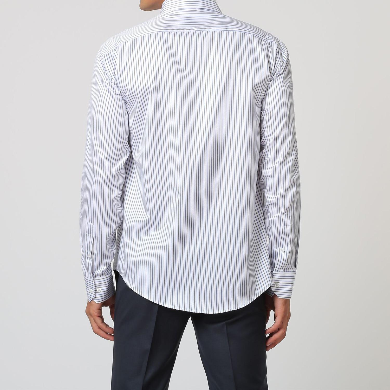 Stripe Button Up Shirt Black Blue White 38