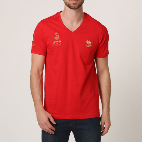 Polo Club V-Neck T-Shirt // Red (S)