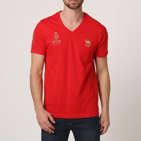Polo Club V-Neck T-Shirt // Red (S)