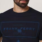 Border Frank Crew T-Shirt // Navy (S)