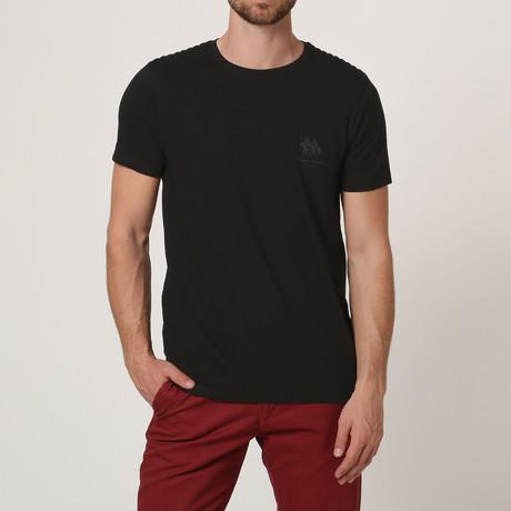 T-Shirt W/ Stitched Shoulder Detail // Black (S)