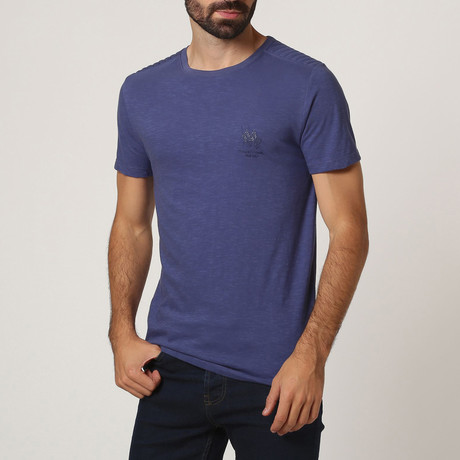 T-Shirt W/ Stitched Shoulder Detail // Indigo (S)