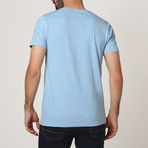 T-Shirt W/ Stitched Shoulder Detail // Light Blue (S)