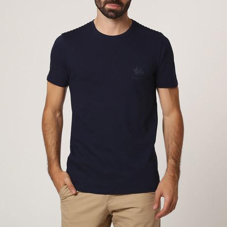 T-Shirt W/ Stitched Shoulder Detail // Navy (S)