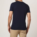 T-Shirt W/ Stitched Shoulder Detail // Navy (S)