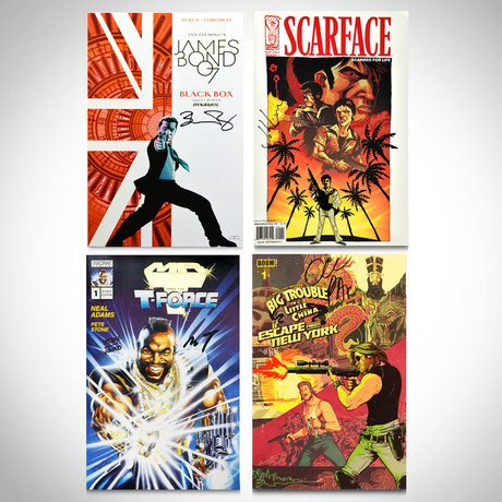 Signed Comics // James Bond, Scarface, Mr. T, Big Trouble in Little China // Set of 4