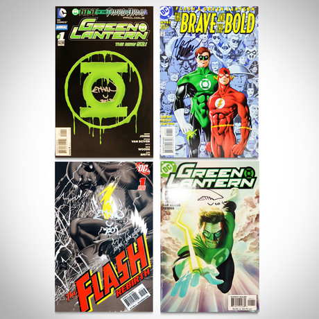 Signed Comics // Green Lantern & Flash // Set of 4