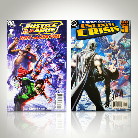 Signed Comics // Justice League and Infinite Crisis // Set of 2