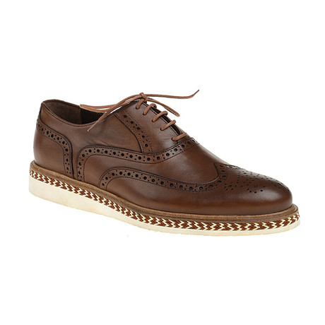 Sleek Patent Wing-Tip Oxford // Brown (Euro: 40)