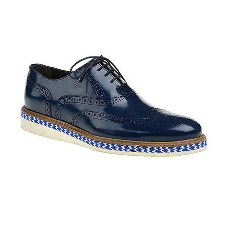 Sleek Patent Wing-Tip Oxford // Navy (Euro: 40)