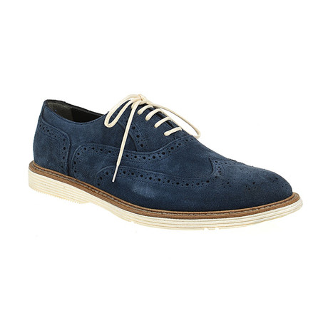 Suede Sleek Wing-Tip Brogue // Navy (Euro: 40)