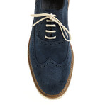 Suede Sleek Wing-Tip Brogue // Navy (Euro: 41)