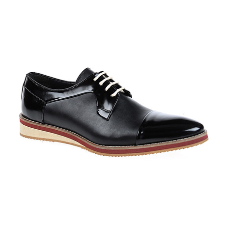 Patent + Leather Cap-Toe Derby // Black (Euro: 40)