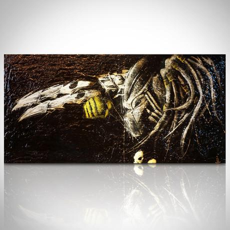 Signed Handpainted Art on Wood // Predator