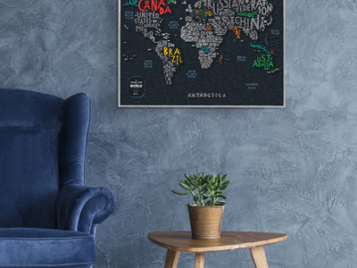 Photo of 1DEA.me Scratch Foil World Maps Travel Map Letters World by Touch Of Modern
