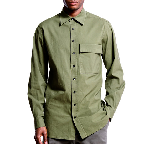 Military Button Down // Olive (S)