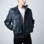 Leather Safari Bomber // Navy (XS)
