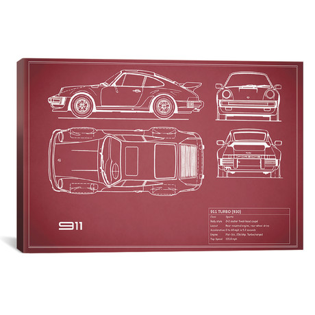 "1977 Porsche 911 Turbo 930 // Maroon // Mark Rogan (18""W x 12""H x 0.75""D)"
