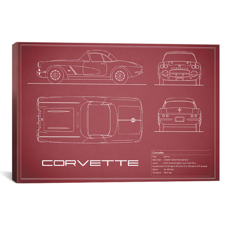"Chevrolet Corvette C1 Body Type (26""W x 18""H x .75""D)"