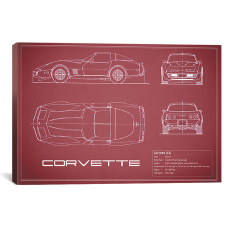 "Chevrolet Corvette C3 Body Type (26""W x 18""H x .75""D)"