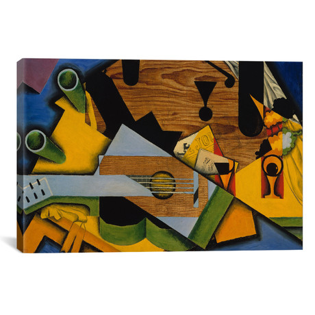 "Still Life with a Guitar // Juan Gris // 1913 (26""W x 18""H x .75""D)"