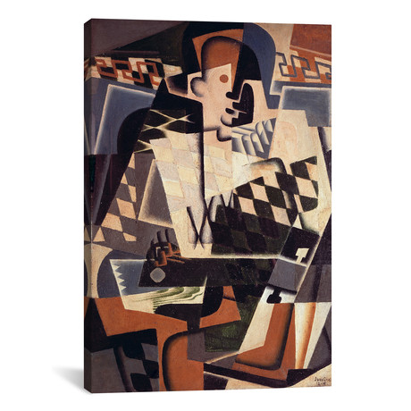 "Harlequin with a Guitar // Juan Gris // 1917 (18""W x 26""H x .75""D)"
