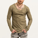 Boomer Distressed Long Sleeve // Khaki (S)