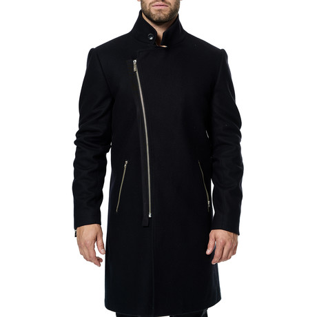 Zip Peacoat // Black (XS)