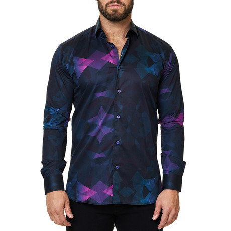 Luxor Webspread Dimensional Dress Shirt // Navy (XS)