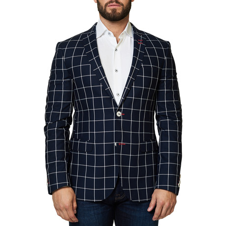 Descarte Check Blazer // Navy (XS)