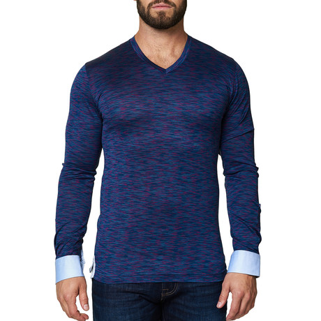V-Neck Long Sleeve Shirt // Mélange Purple (S)