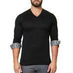V-Neck Solid Dress Shirt // Black (XS)