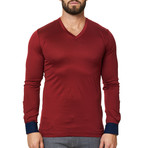V-Neck Long Sleeve Shirt // Red (XS)