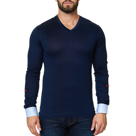 V-Neck Long Sleeve Shirt // Navy (S)