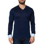 V-Neck Long Sleeve Shirt // Navy (XS)