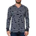 V-Neck Stripe Dress Shirt // Black (XS)