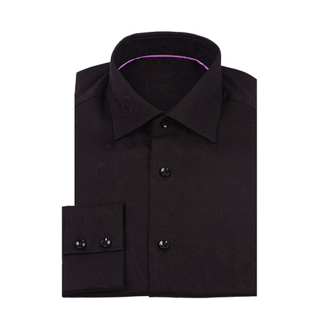 Adrian Paisley Button-Up Shirt // Black (XS)