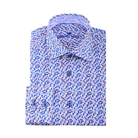Don Abstract Squares Button-Up Shirt // Blue (XS)