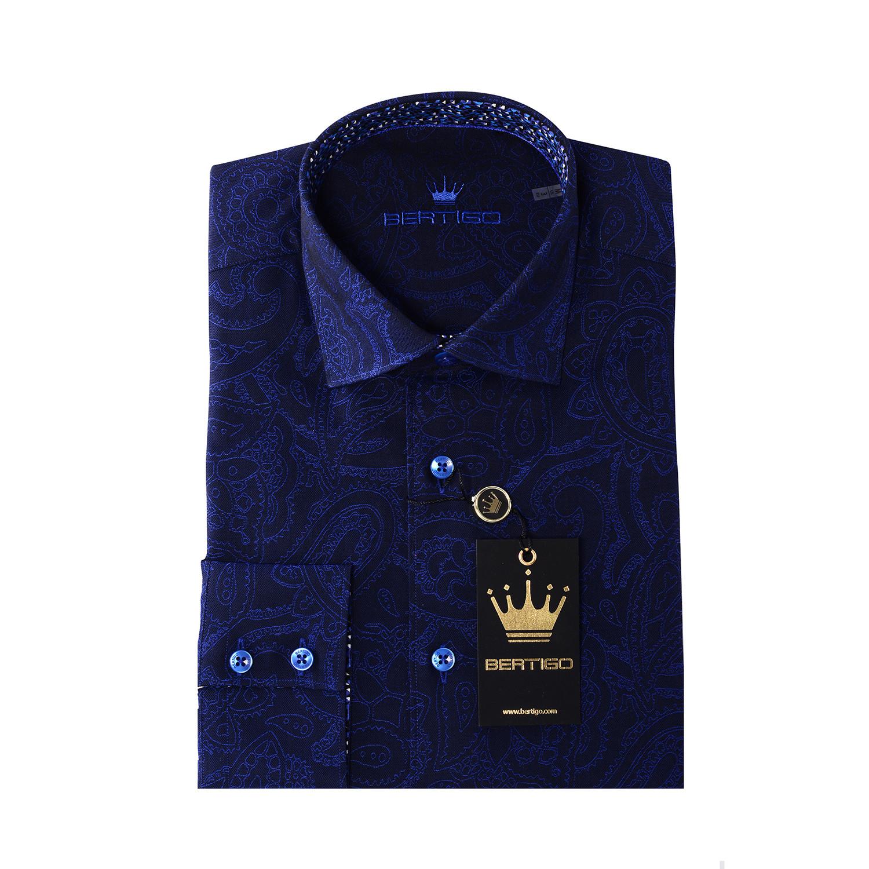 Jq Button Up Shirt Navy Blue Paisley S Bertigo