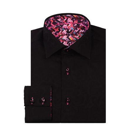 Miro Jacquard Button-Up Shirt // Black (XS)