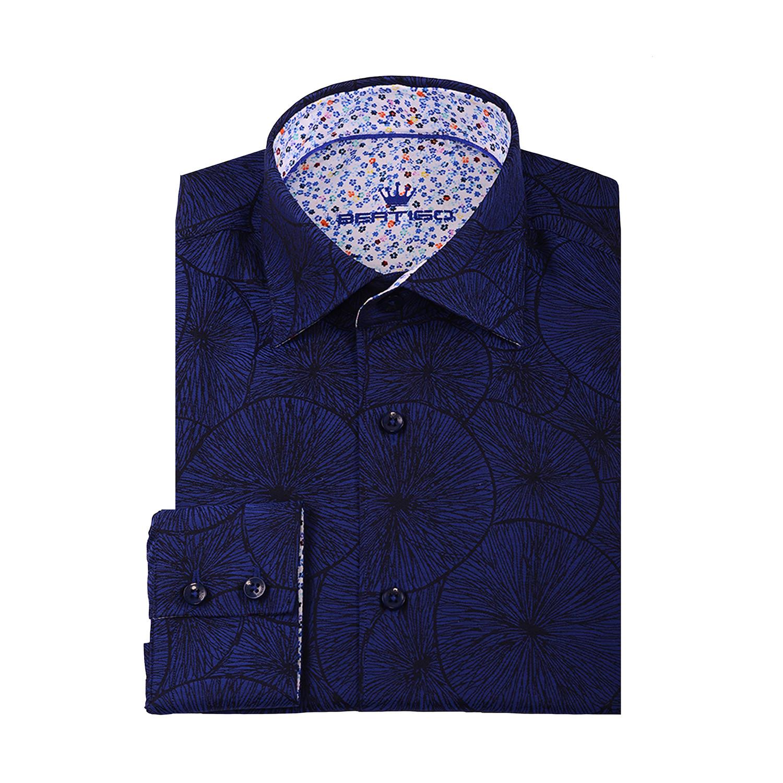 Nati Circle Button Up Shirt Navy Blue Xs Bertigo