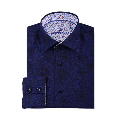 Nati Circle Button-Up Shirt // Navy Blue (XS)