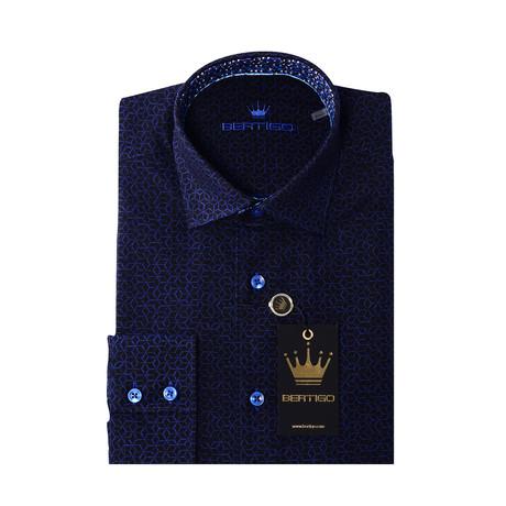 JQ Cubes Button-Up Shirt // Navy Blue (S)