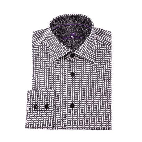 Penny Microdiamond Button-Up Shirt // Black (XS)