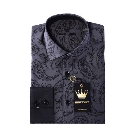JQ Paisley Button-Up Shirt // Black (S)