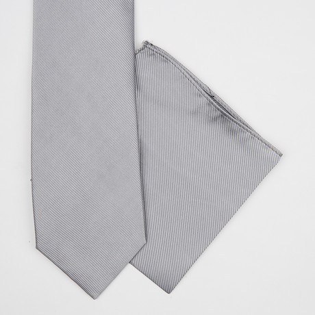 Solid Silk Tie + Pocket Square // Grey