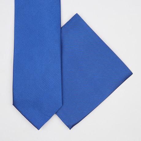 Solid Silk Tie + Pocket Square // Blue