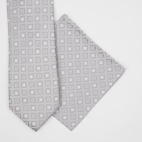 Boxed Silk Tie + Pocket Square // Grey