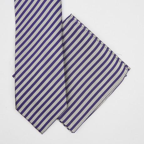 Stripe Silk Tie + Pocket Square // Grey + Purple