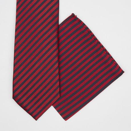 Stripe Silk Tie + Pocket Square // Red + Black